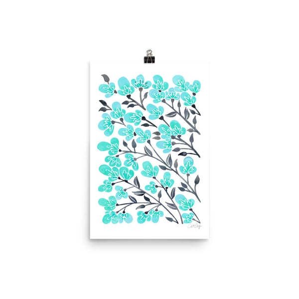Cherry Blossoms – Turquoise & Grey Palette • Art Print