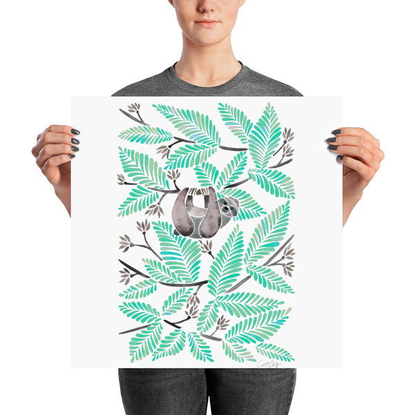 Happy Sloth – Tropical Mint Rainforest • Art Print