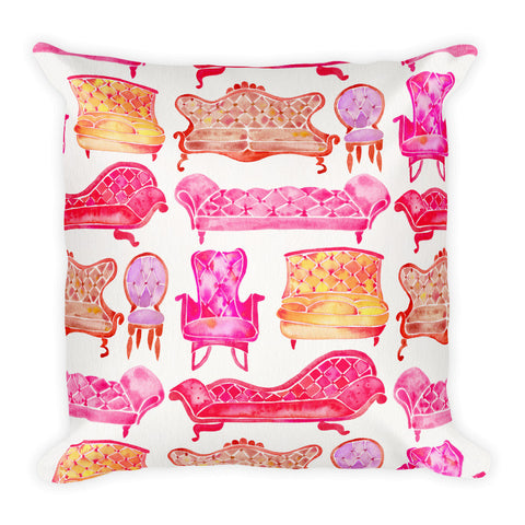 Victorian Lounge – Pink Palette  •  Square Pillow