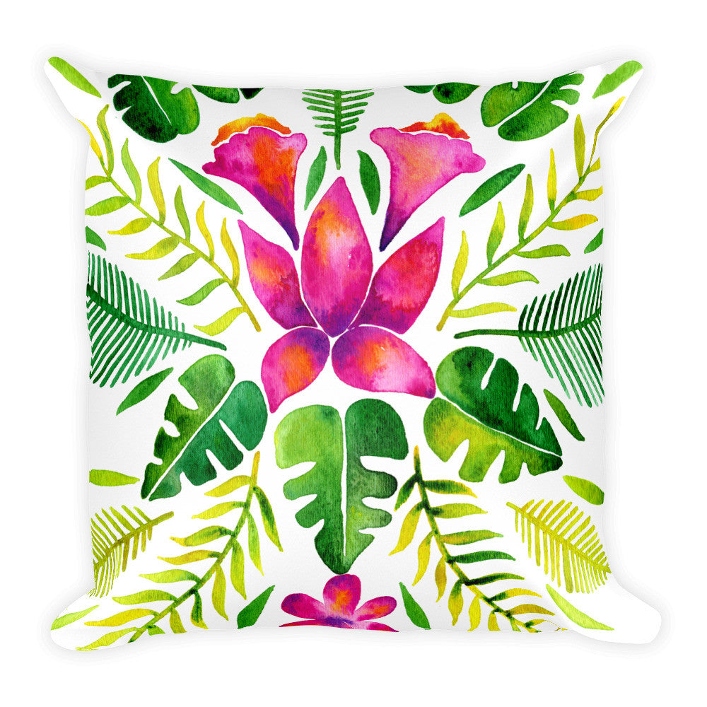 Tropical Symmetry – Pink & Green Palette • Square Pillow