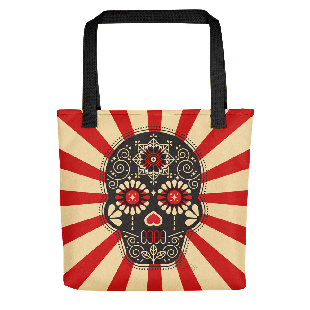 Día de Muertos – Mexican Sugar Skull – Black, Crimson & Cream Palette • Tote Bag
