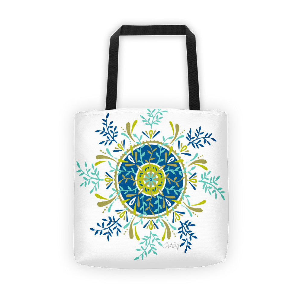 Leaf Mandala – Blue & Lime Palette  •  Tote Bag
