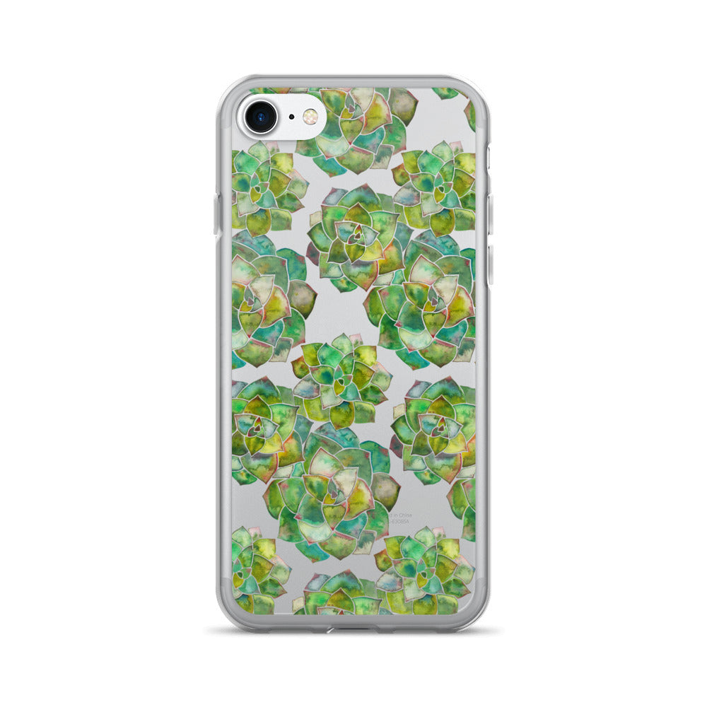 Rosette Succulents – Green Palette • iPhone 7/7 Plus Case (Transparent)