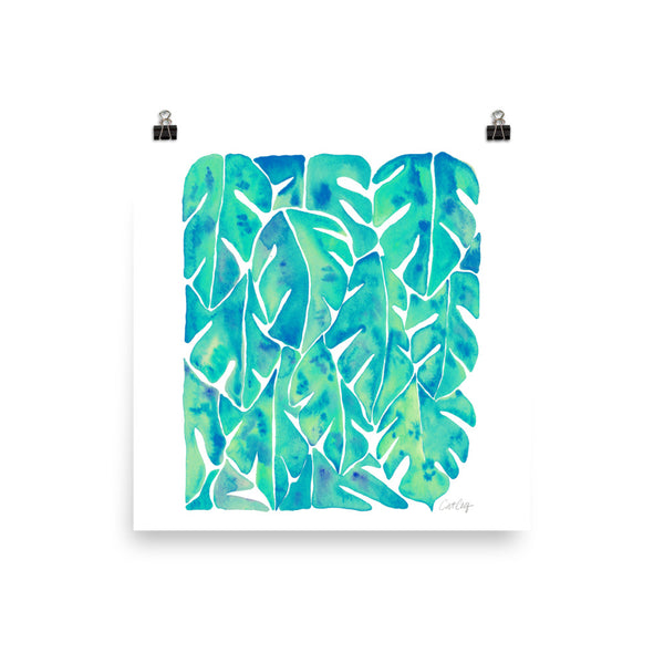 Split Leaf Philodendron – Turquoise Palette • Art Print