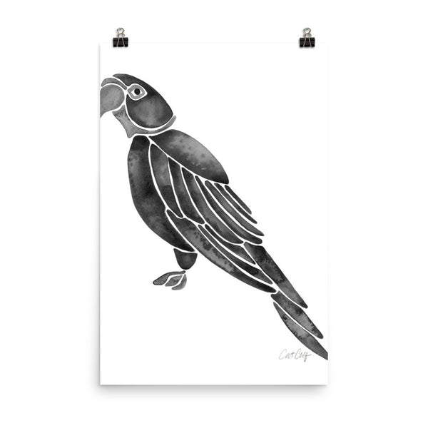 Perched Parrot – Black Palette • Art Print