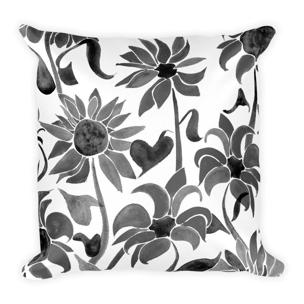 Sunflower Watercolor – Black Palette • Square Pillow
