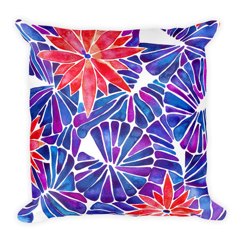 Water Lilies – Cherry & Indigo Palette  •  Square Pillow