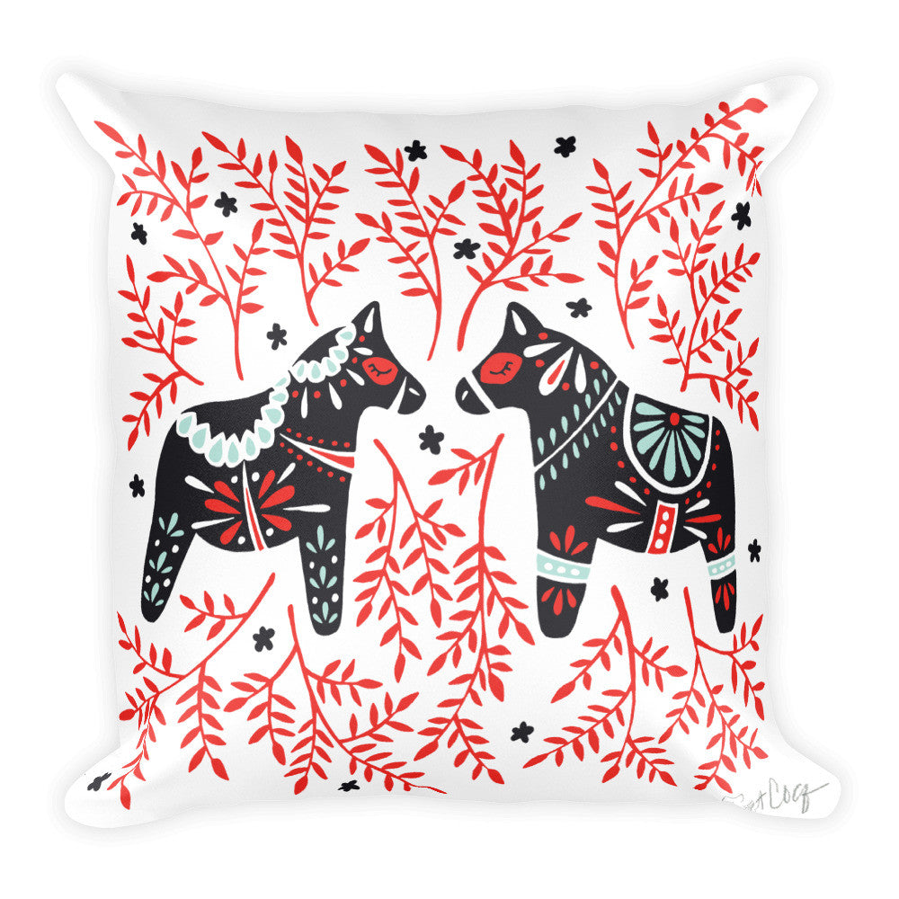 Swedish Dala Horses – Black & Red Palette  •  Square Pillow