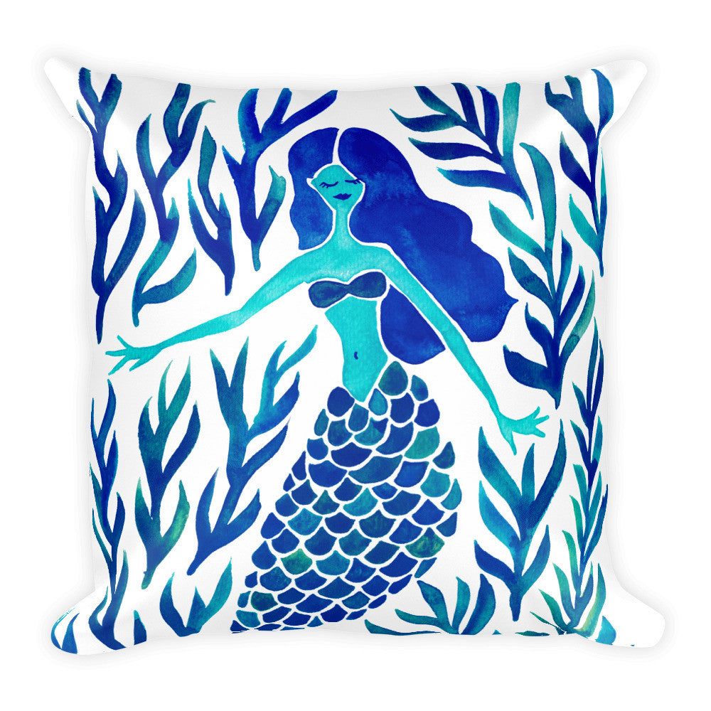 Kelp Forest Mermaid – Navy Palette • Square Pillow