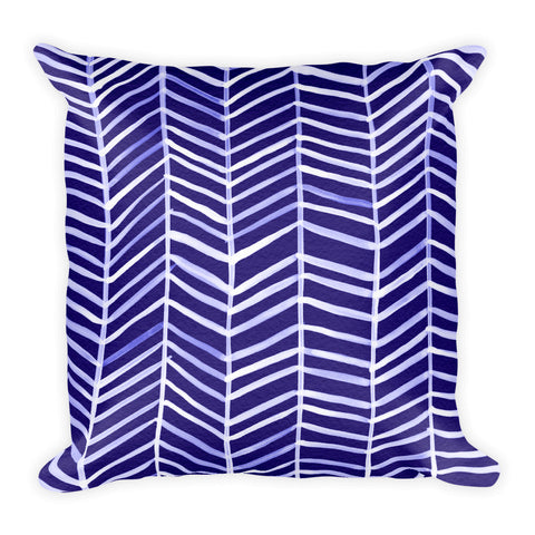 Herringbone – Navy Palette • Square Pillow