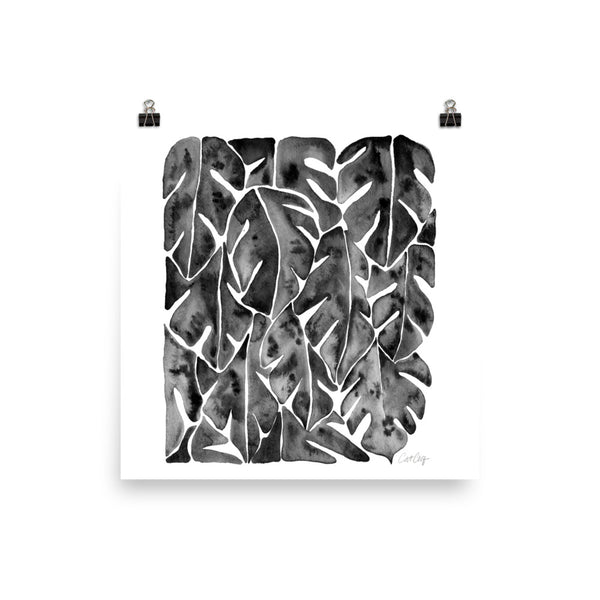 Split Leaf Philodendron – Black Palette • Art Print