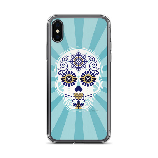 Día de Muertos – Mexican Sugar Skull – Baby Blue Palette • iPhone Case