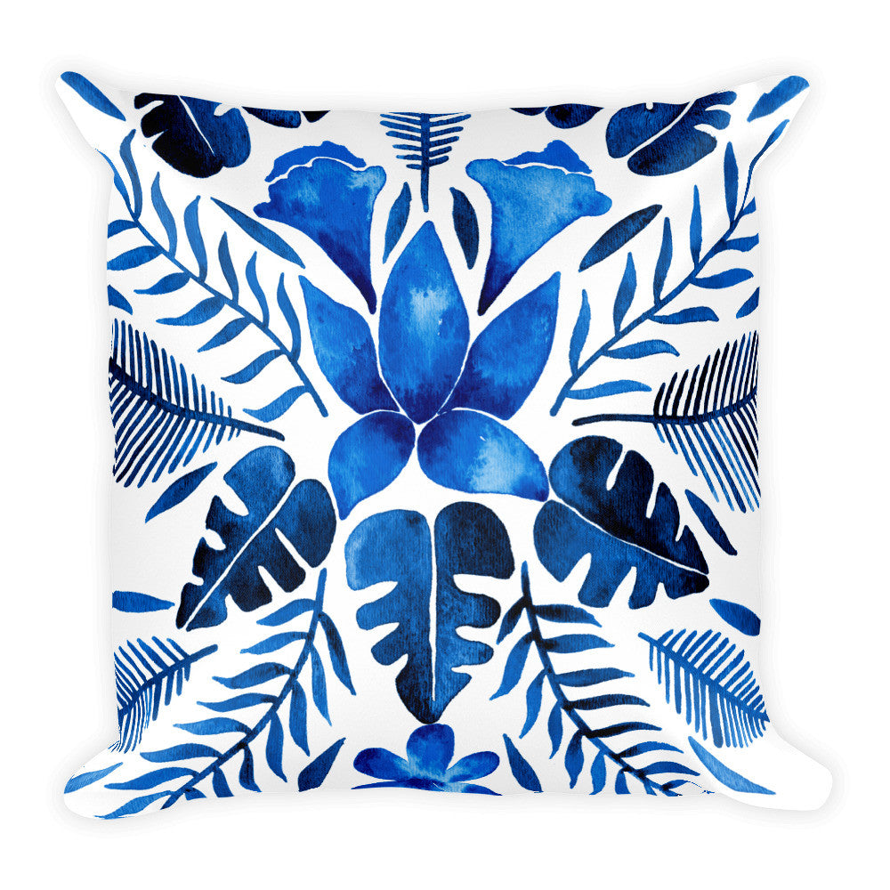 Tropical Symmetry – Navy Palette • Square Pillow