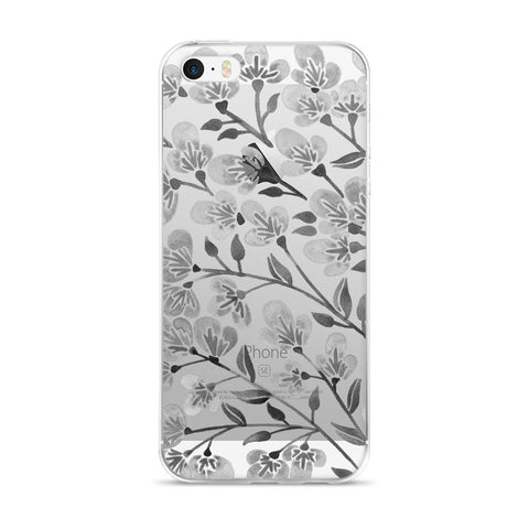 Cherry Blossoms – Grey Palette • iPhone 5/5s/Se, 6/6s, 6/6s Plus Case (Transparent)