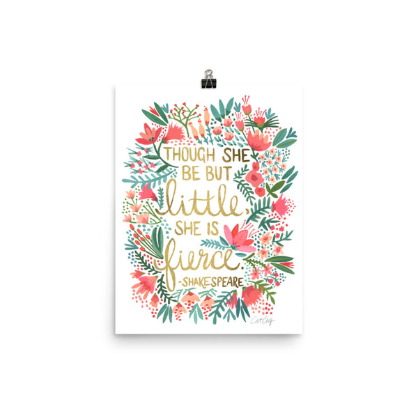 Little & Fierce – Gold Lettering • Art Print