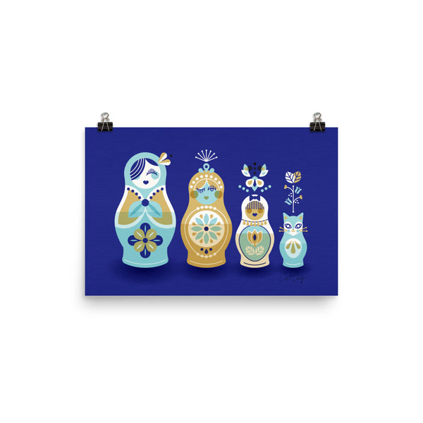Russian Nesting Dolls – Navy Background • Art Print
