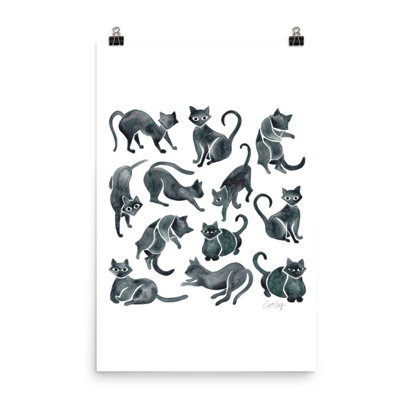 Cat Positions – Black Palette • Art Print