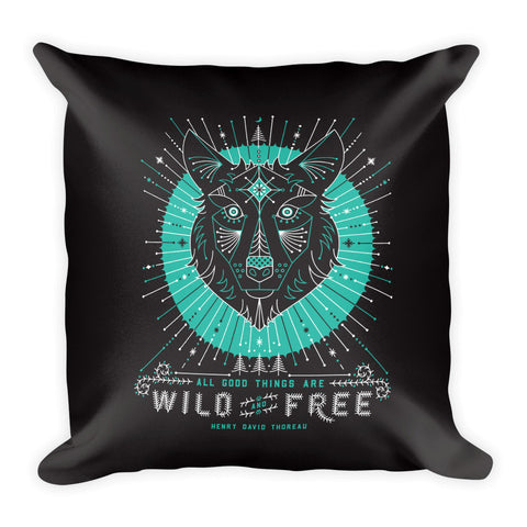 Wild & Free Wolf – Turquoise & Grey  •  Square Pillow