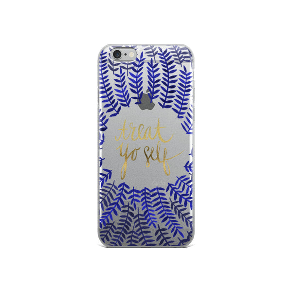Treat Yo Self – Navy Palette • iPhone Case (Transparent)