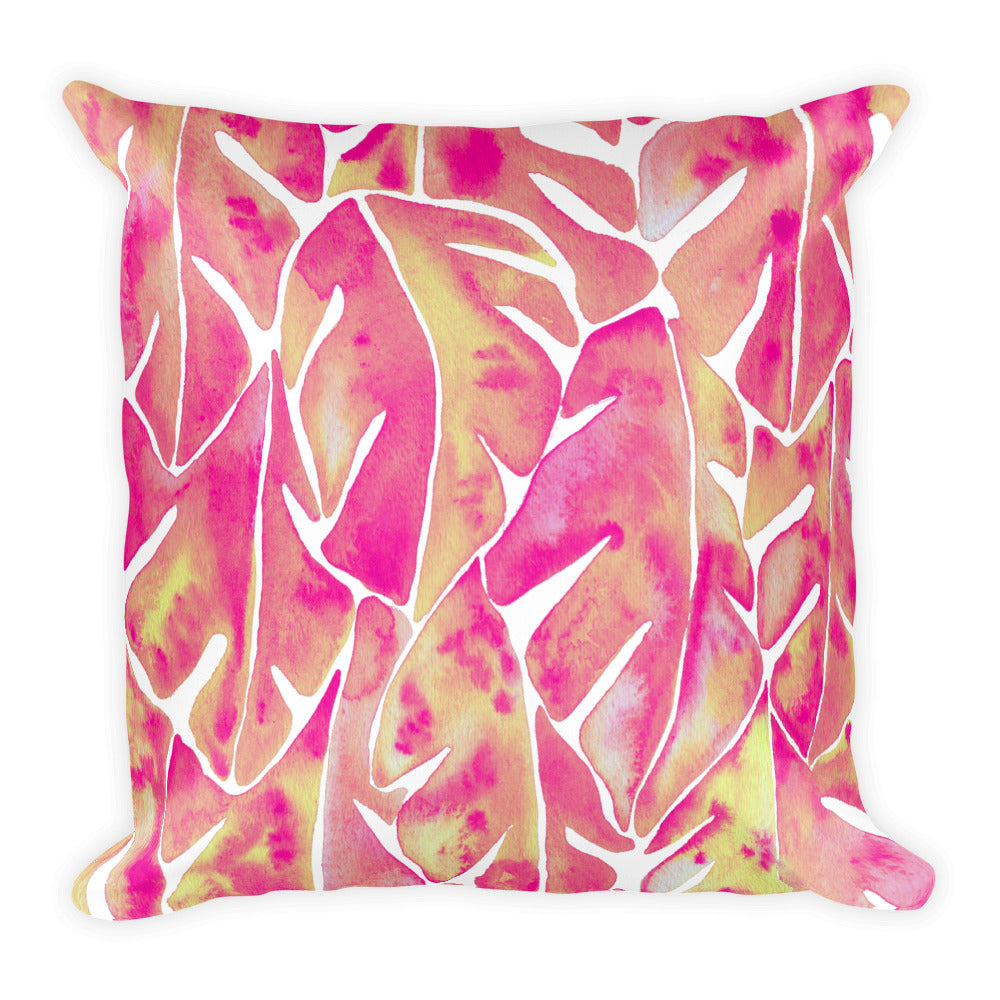 Split Leaf Philodendron – Pink Palette • Square Pillow