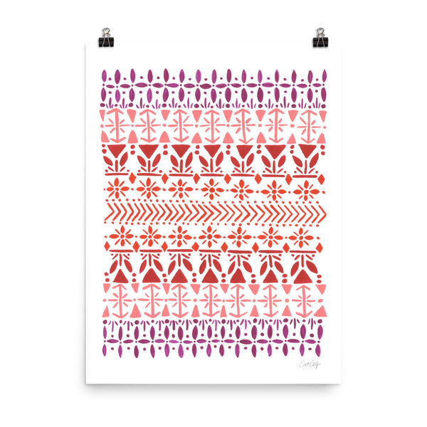 Norwegian Pattern – Red Palette • Art Print