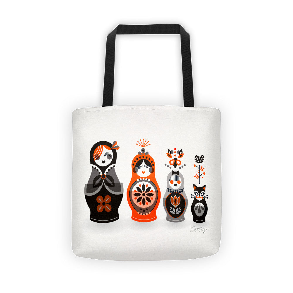 Russian Nesting Dolls – Red & Black Palette  •  Tote Bag
