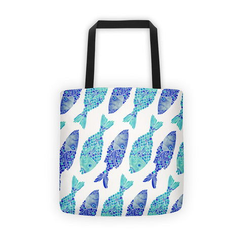 Indonesian Fish – Navy & Turquoise Palette  •  Tote Bag