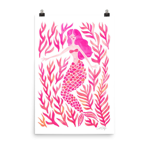 Kelp Forest Mermaid – Pink Palette • Art Print