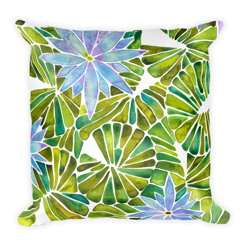 Water Lilies – Lavender & Green Palette  •  Square Pillow