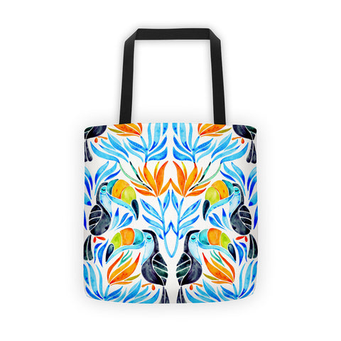 Tropical Toucans – Blue Leaves  •  Tote Bag