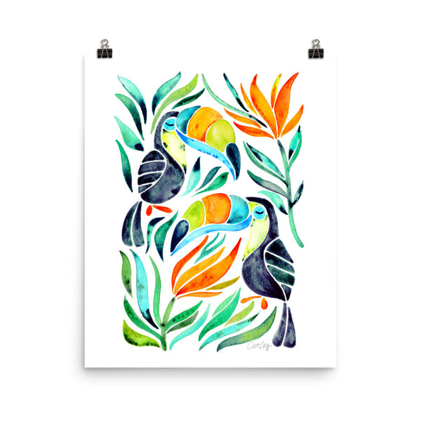 Tropical Toucans – Green Leaves • Art Print