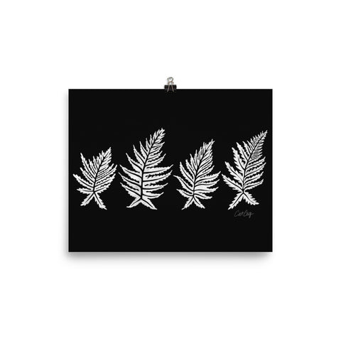 Inked Ferns – White Ink on Black • Art Print