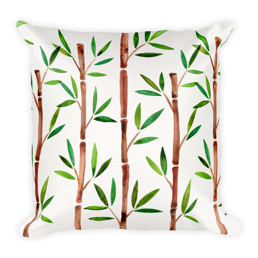 Bamboo – Green & Brown Palette  •  Square Pillow
