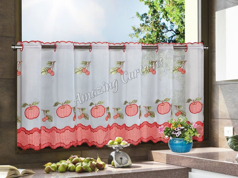White/Red Kitchen Net Curtain - AmazingCurtains