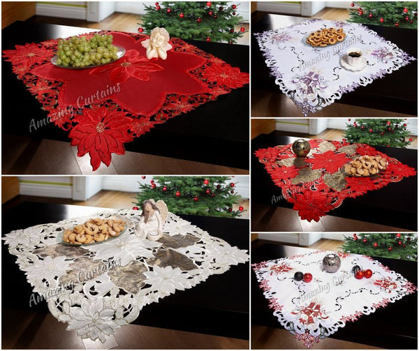 Details about square christmas tablecloths embroidered 85 x 85cm red