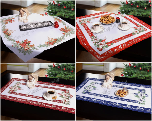 Christmas tablecloths table runners square rectangle xmas for 120 table runner christmas