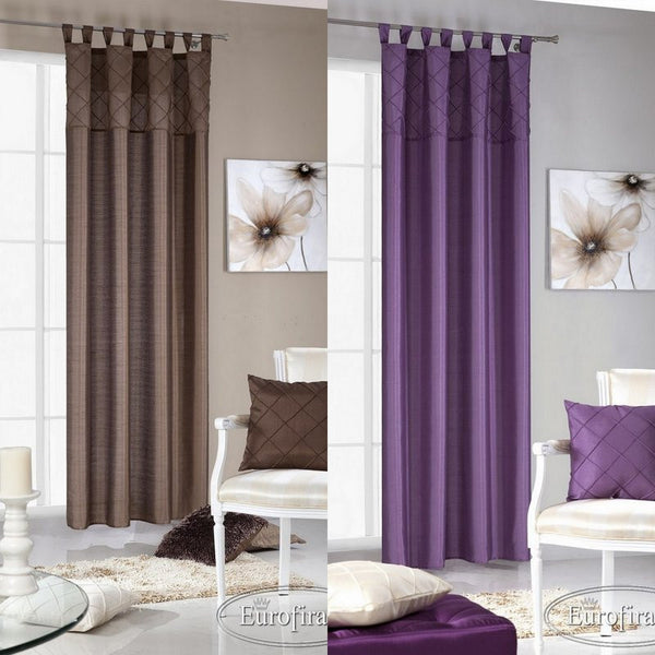 Plain Ready Made Curtain Voile Panel Brown Purple 140x 250cm Tab Top Not Lined Ebay