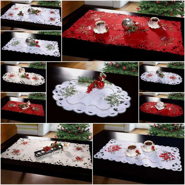 New christmas tablecloths table runners embroidered oval for 120 table runner christmas