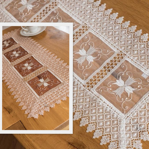 Small Table Runners with Organza and Lace - 35 x 70cm