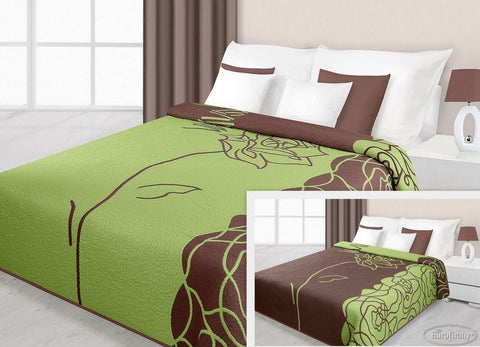 Double Sided Bedspread - Green/Brown - AmazingCurtains