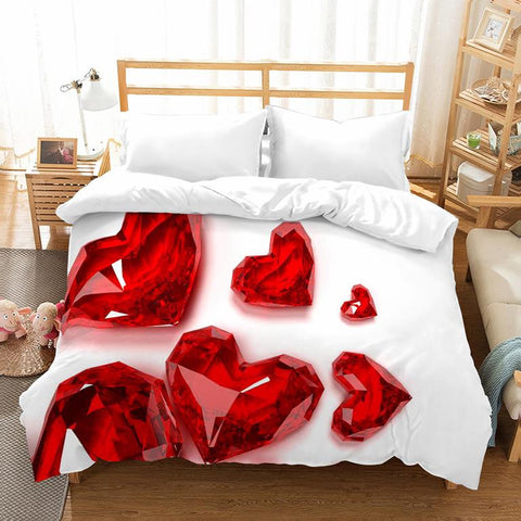 Romantic 3D Bedding Set with Red Hearts - Amazing Curtains