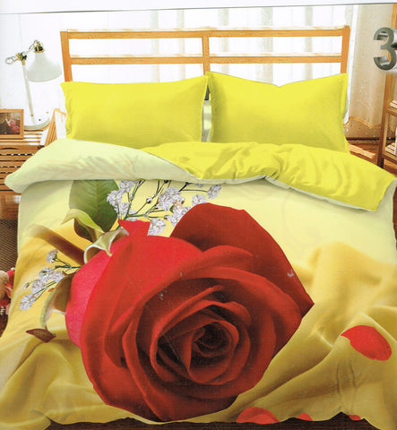 Yellow 3D Bedding Set with Red Rose - Amazing Curtains