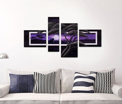 Purple Parted Canvas Multi Panel Hand Painted - Amazing Curtains