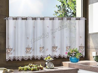 Kitchen Cafe Net Curtain White/Brown - AmazingCurtains