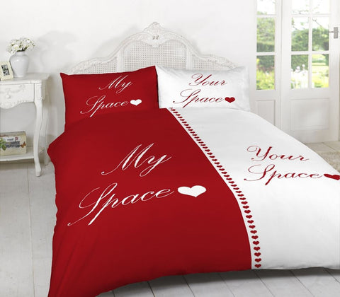 My Space Your Space Bedding Set Red/White