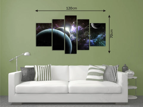 Canvas Picture Panels with Planets Pattern - Amazing Curtains