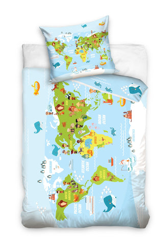 World Map Atlas Duvet Set 140 x 200cm