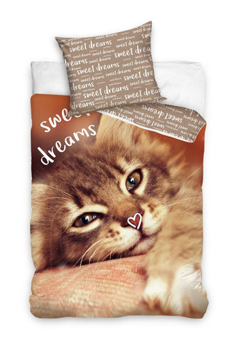 Single Bedding Set with Cat - Brown
