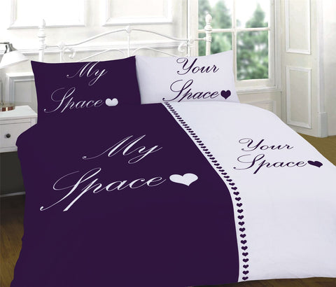 My Space Your Space Bedding Set Purple/White