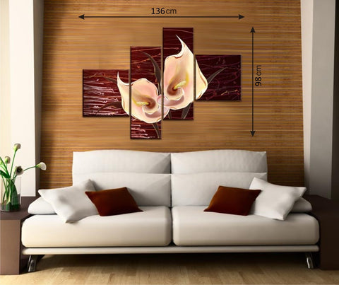 Brown 4pcs Picture Panels with Flowers - AmazingCurtains